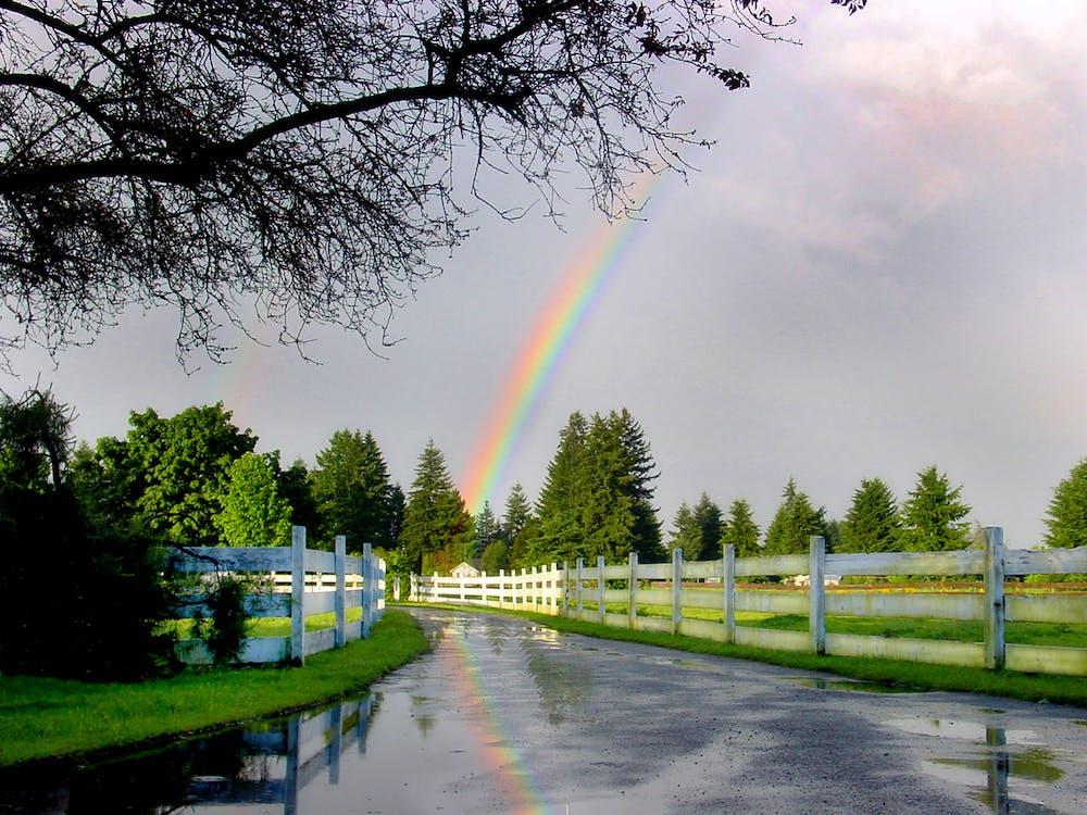 fazenda de cerca de arco-íris