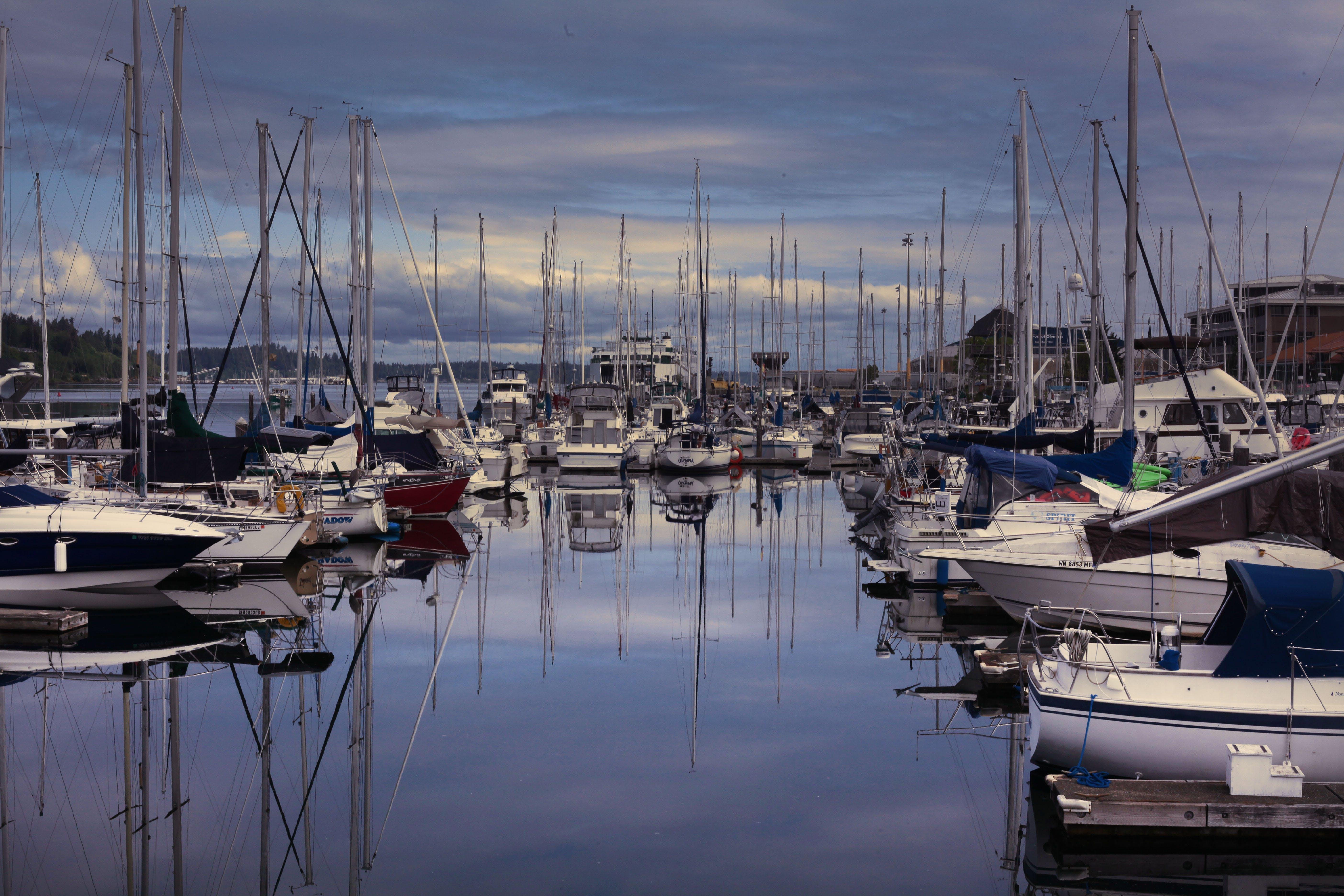 Free stock photo of bay boats water clouds marina