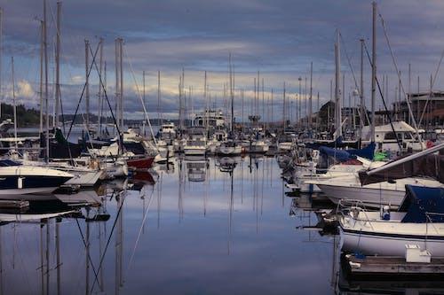 Gratis arkivbilde med bay båter vannet skyer marina