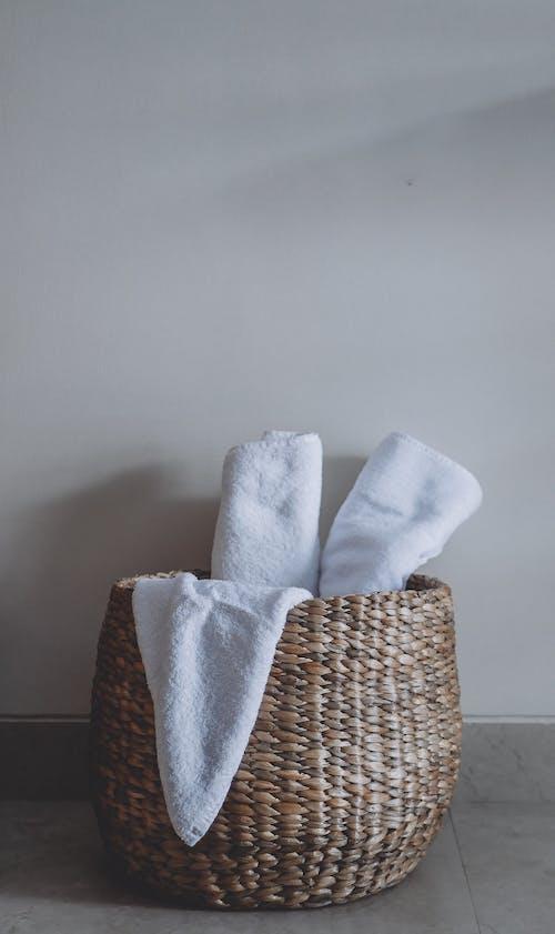 Free stock photo of bath towels, linen, natural basket, towel