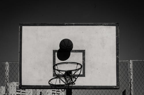 Free stock photo of basketball, basketball ring, black and white, bnw