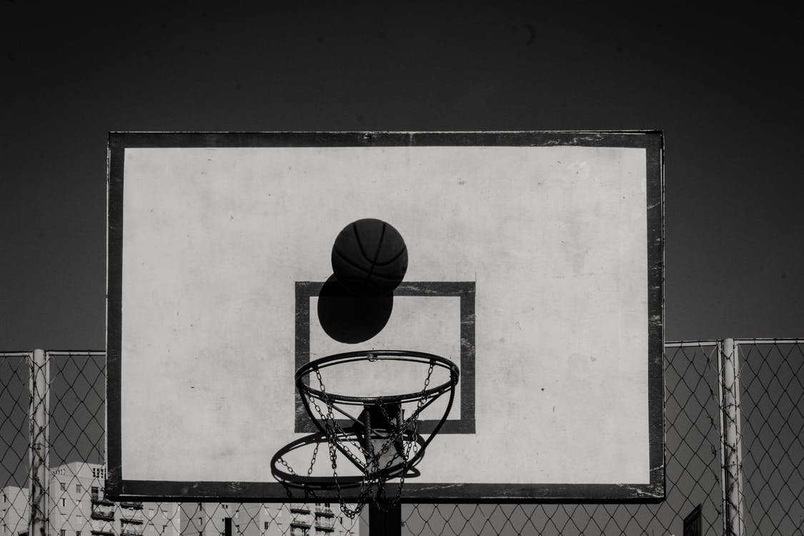 basketball, basketball ring, black and white