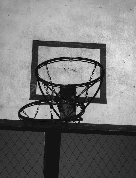 basketball, basketball ring, black and white