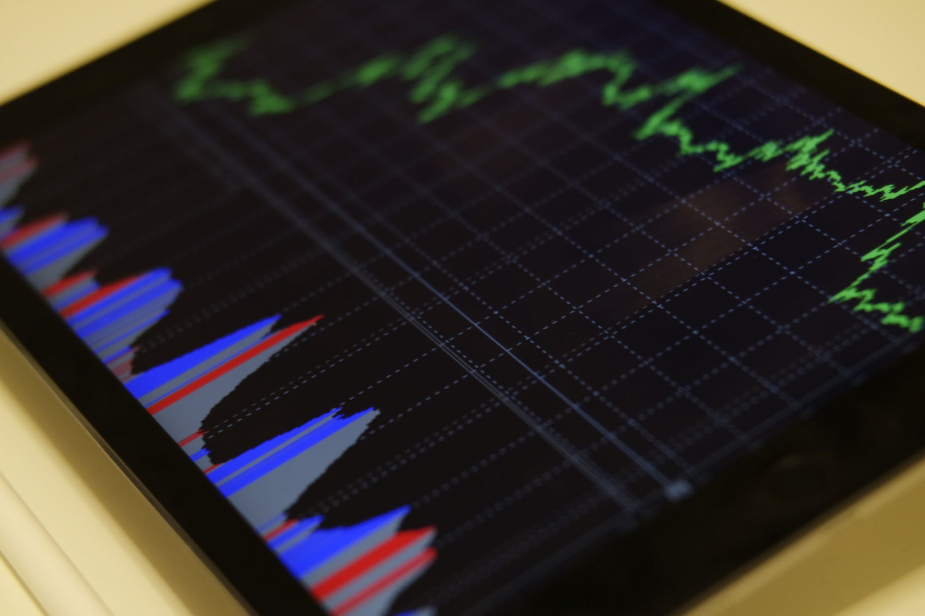 tablet with stock market graph