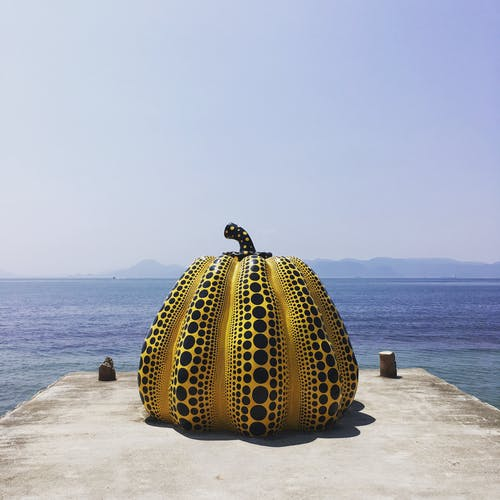Free stock photo of art, japan, pumpkin by the sea