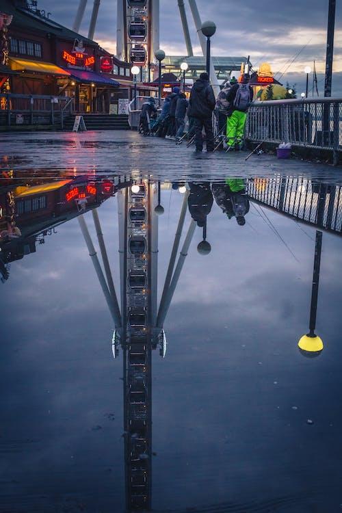 Free stock photo of cloudy, ferris wheel, fishing