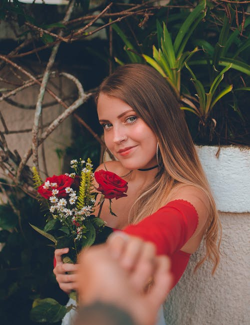 Woman Holding Roses