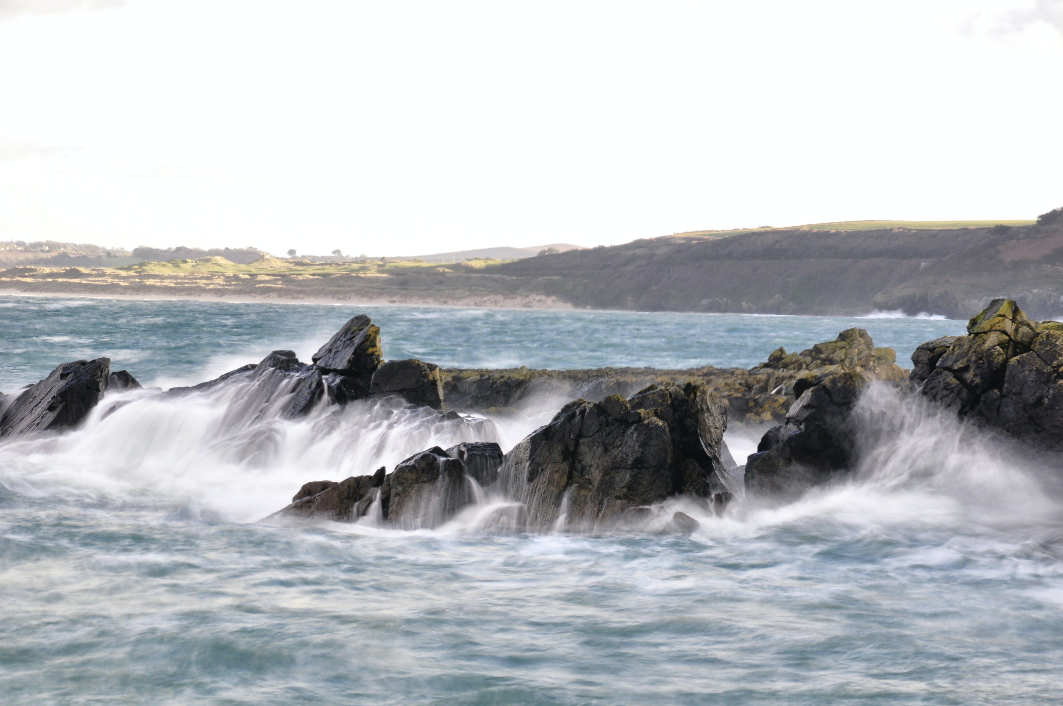Free stock photo of coast line, rocks, waves breaking