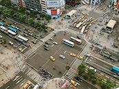 city, bird's eye view, road