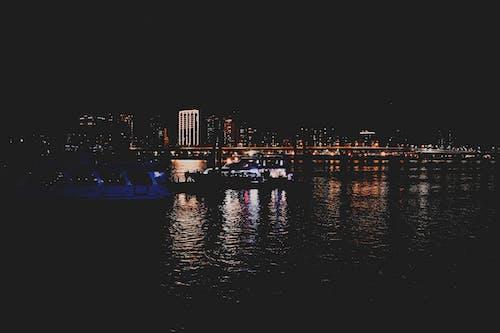 Ảnh lưu trữ miễn phí về ánh đèn thành phố, ban đêm, bầu trời, bờ sông