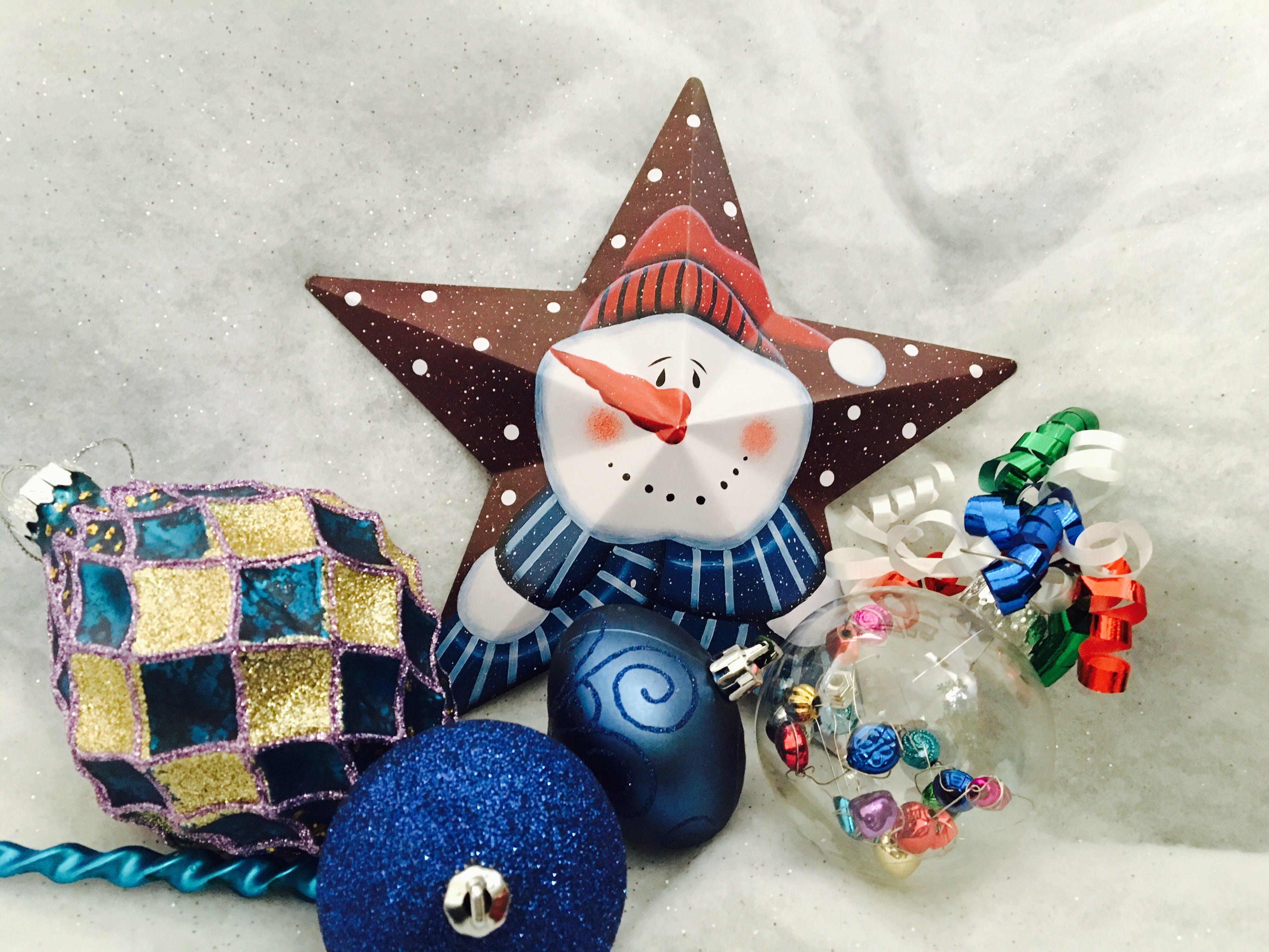 Snowman Print Star Decor