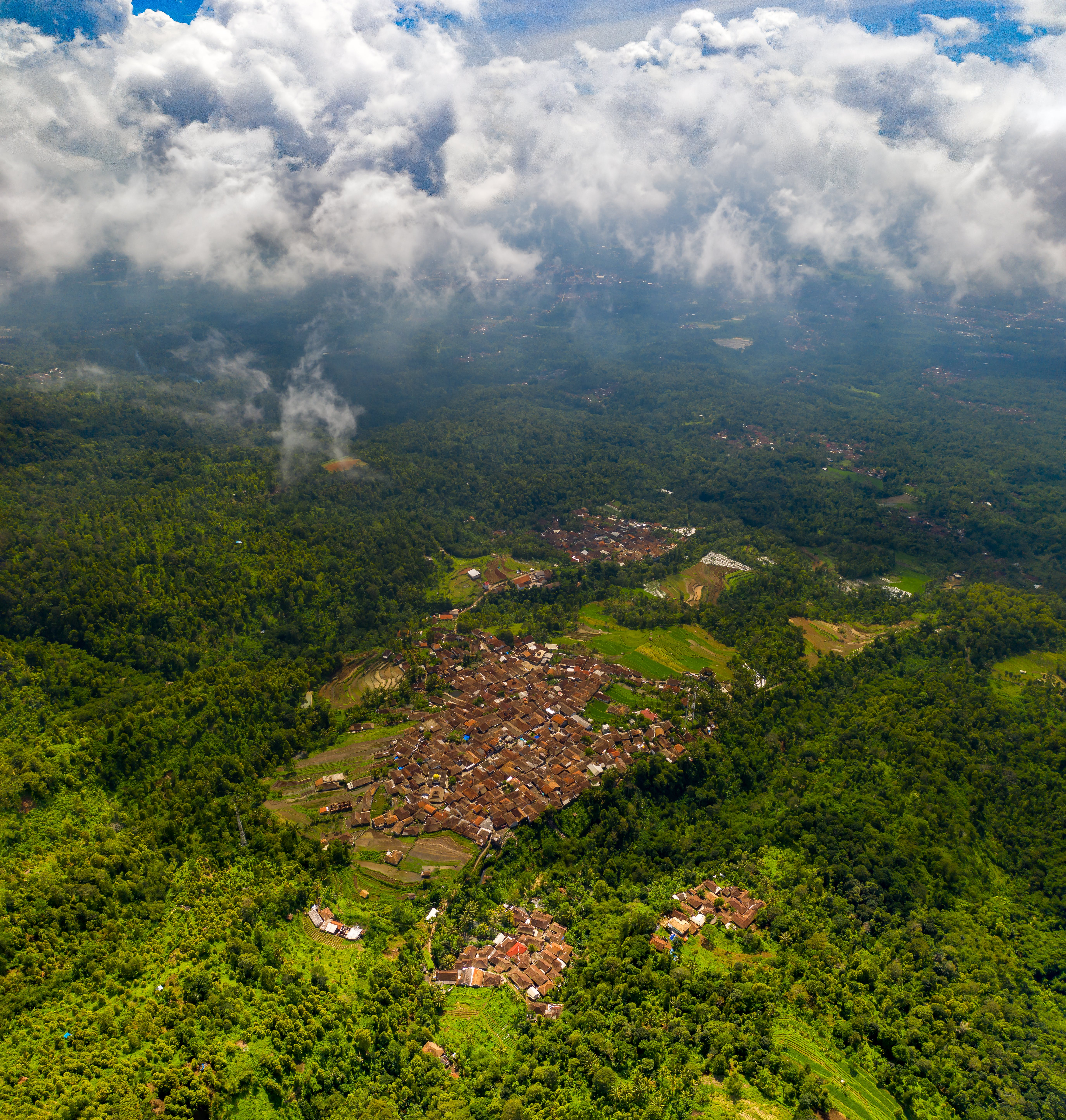 Aerial Photography of Village Surrounded By Trees