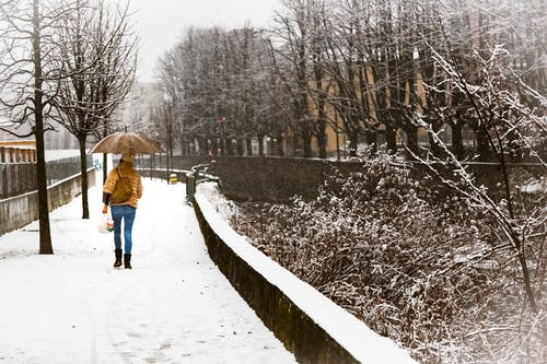 Woman With Umbrella Walking on Snow Covered Sidewalk