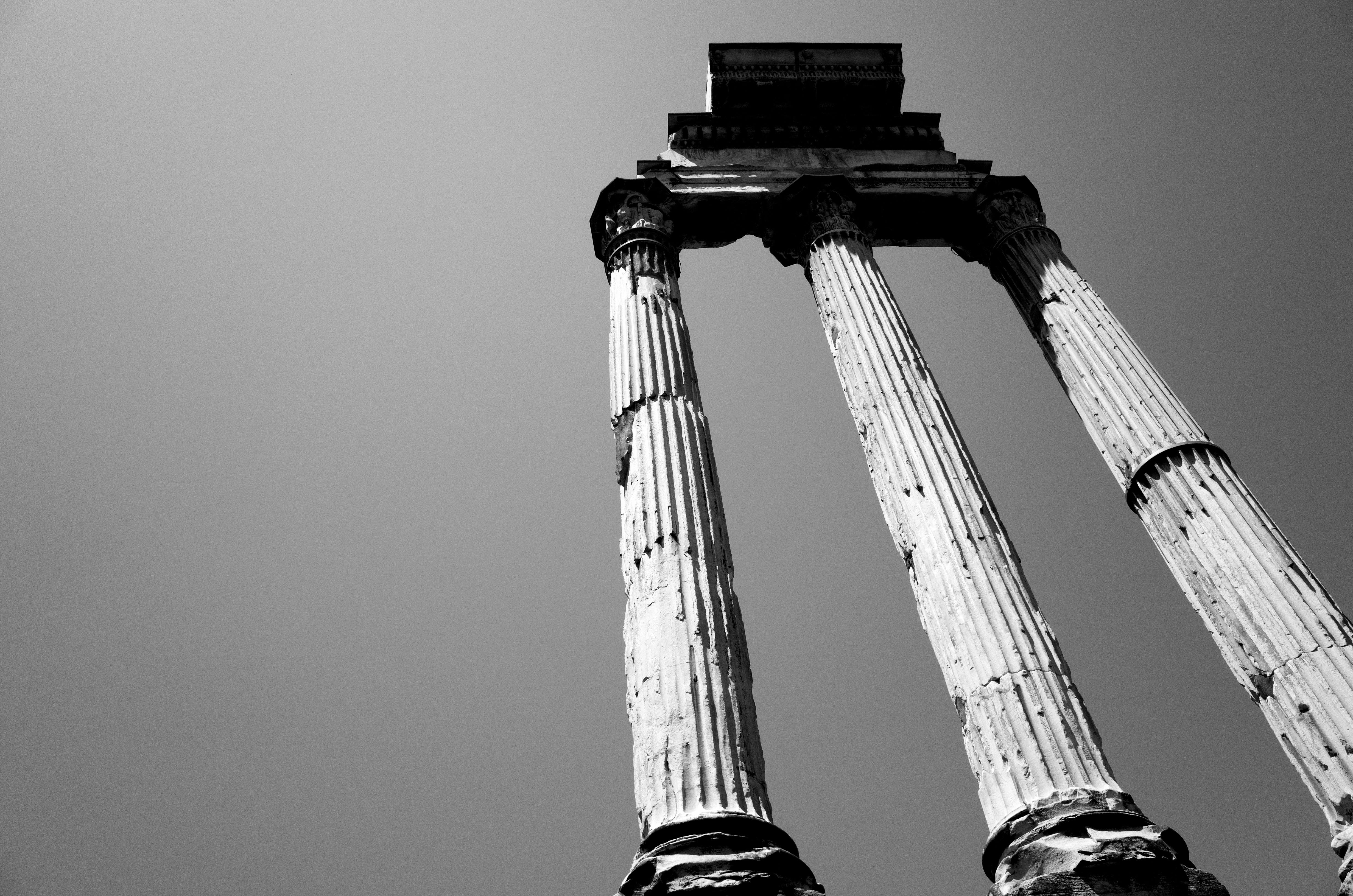 Free stock photo of architecture, black and white, columns, empire