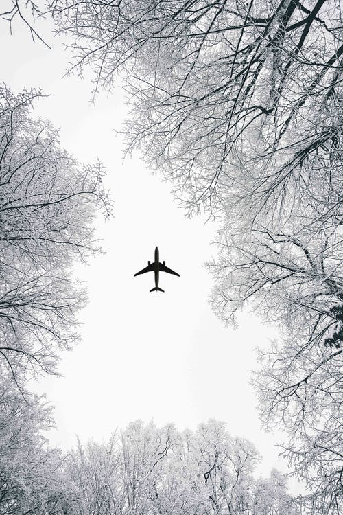 Low Angle View of Airliner during Winter