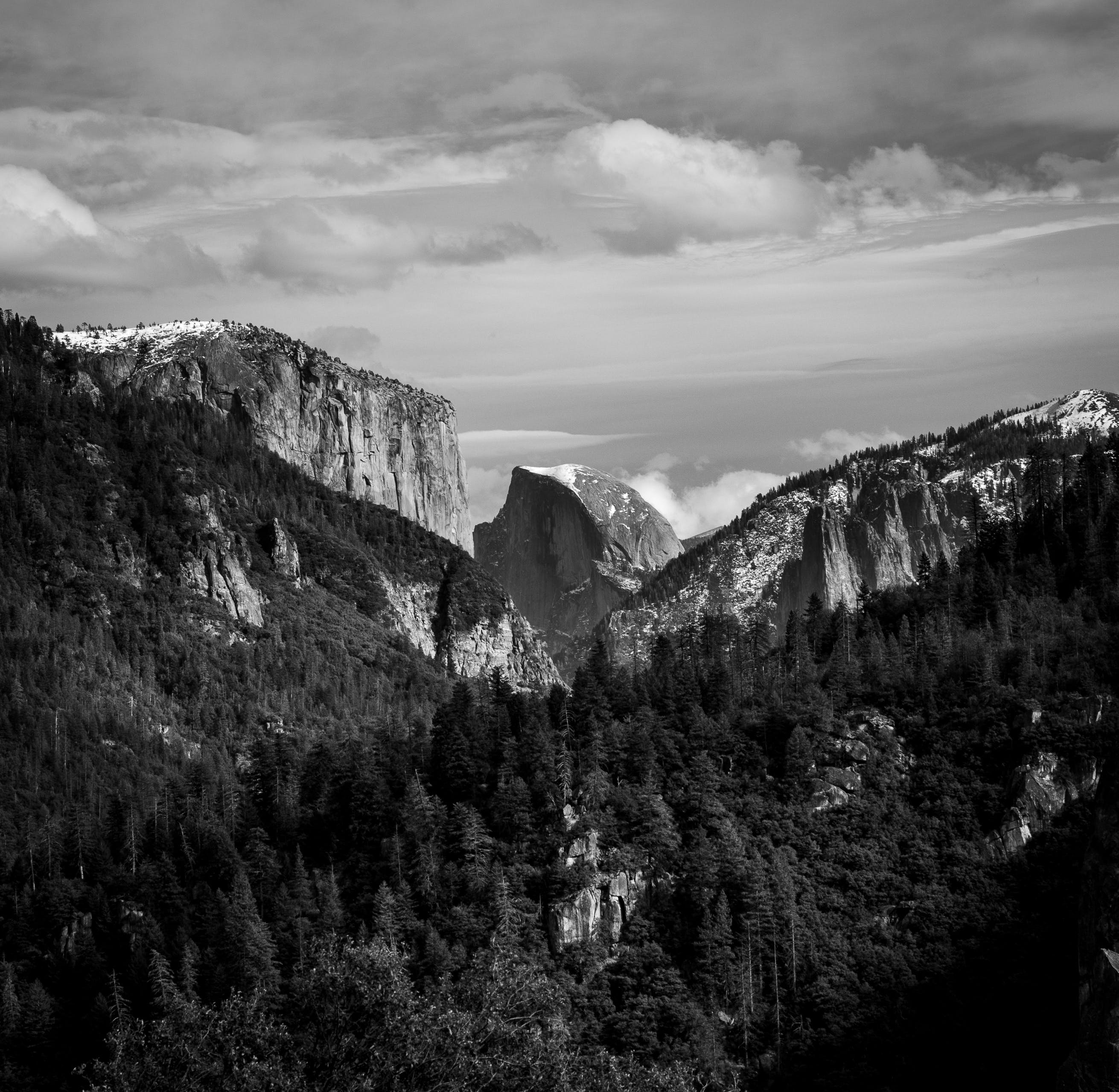 Free stock photo of black and white, el capitan, half dome, hiking