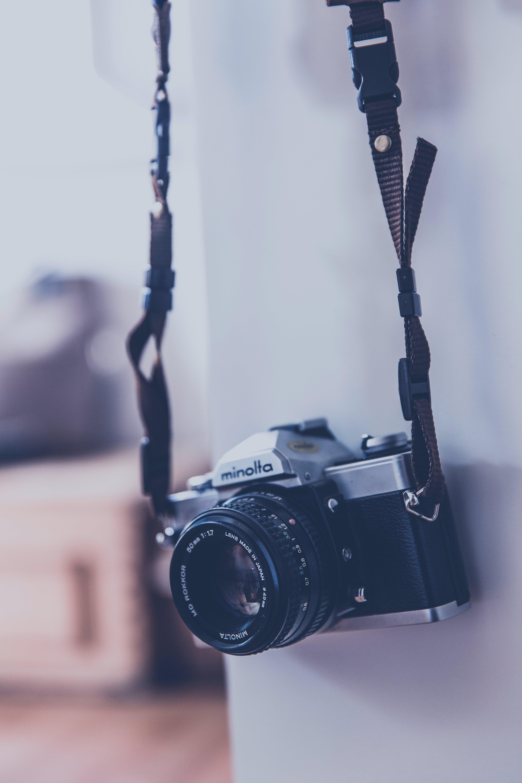 Gray and Black Minolta Camera in Tilt Shift Lens Photography