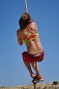 woman, summer, rope