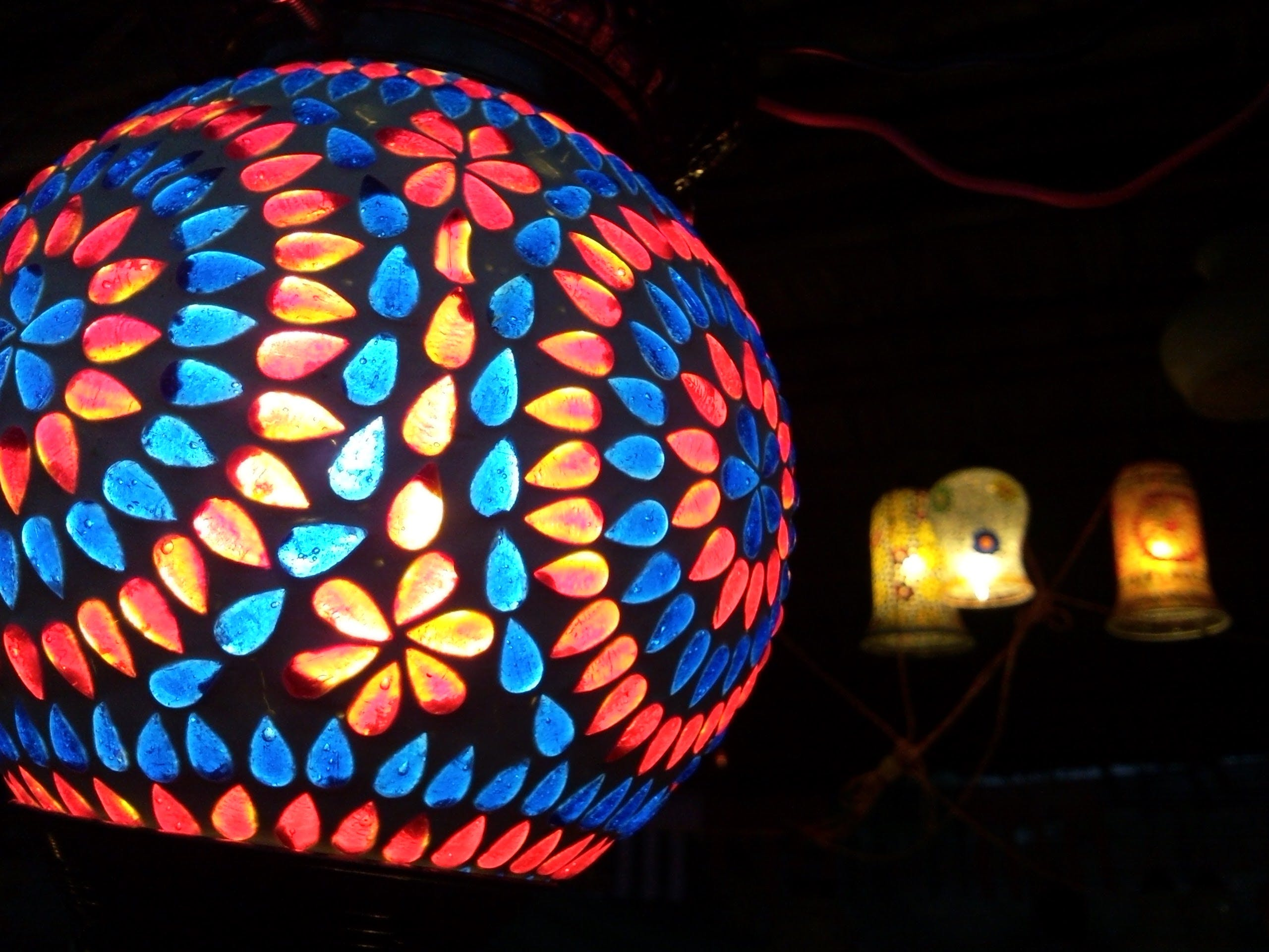 Red and Blue Floral Pendant Light