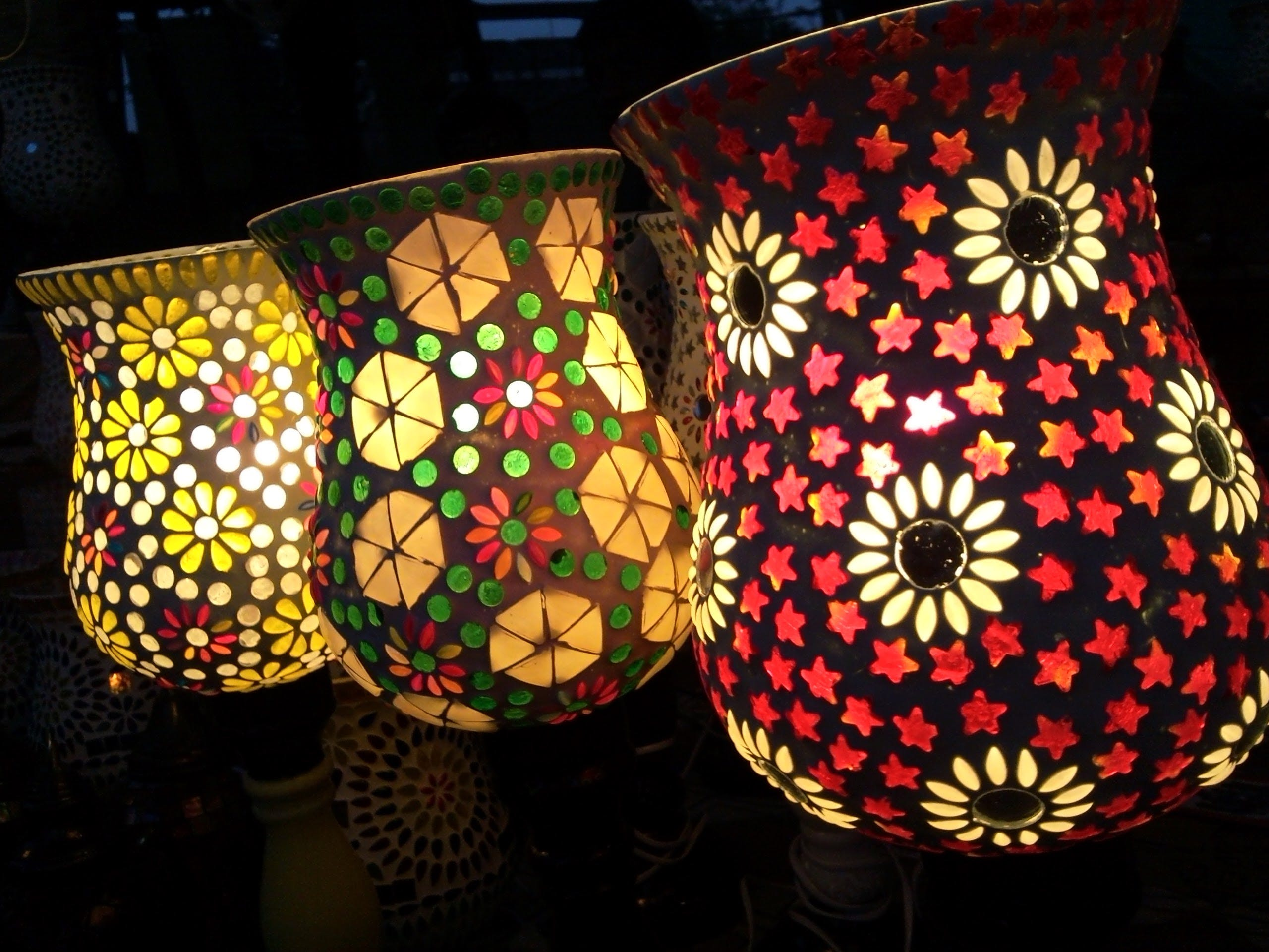 Three Assorted-color Floral Projection Lamps