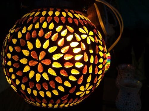 Black and Yellow Floral Lighted Lamp