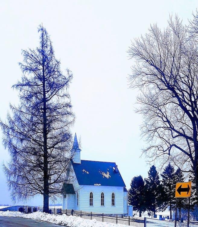 #winter #sneeuw #tree #sky #church #country #god