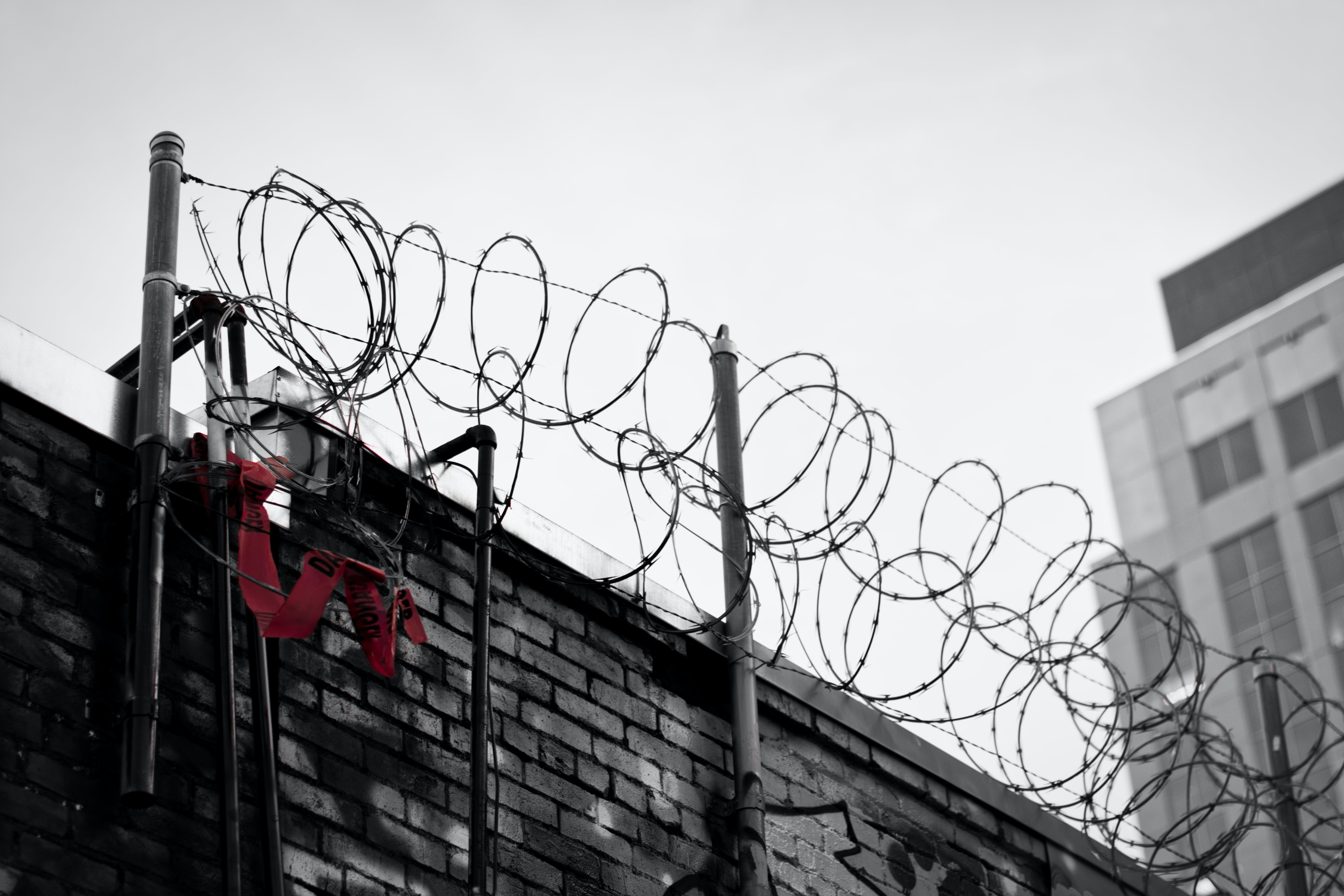 Free stock photo of barbed wire, building, fence, rotoscope