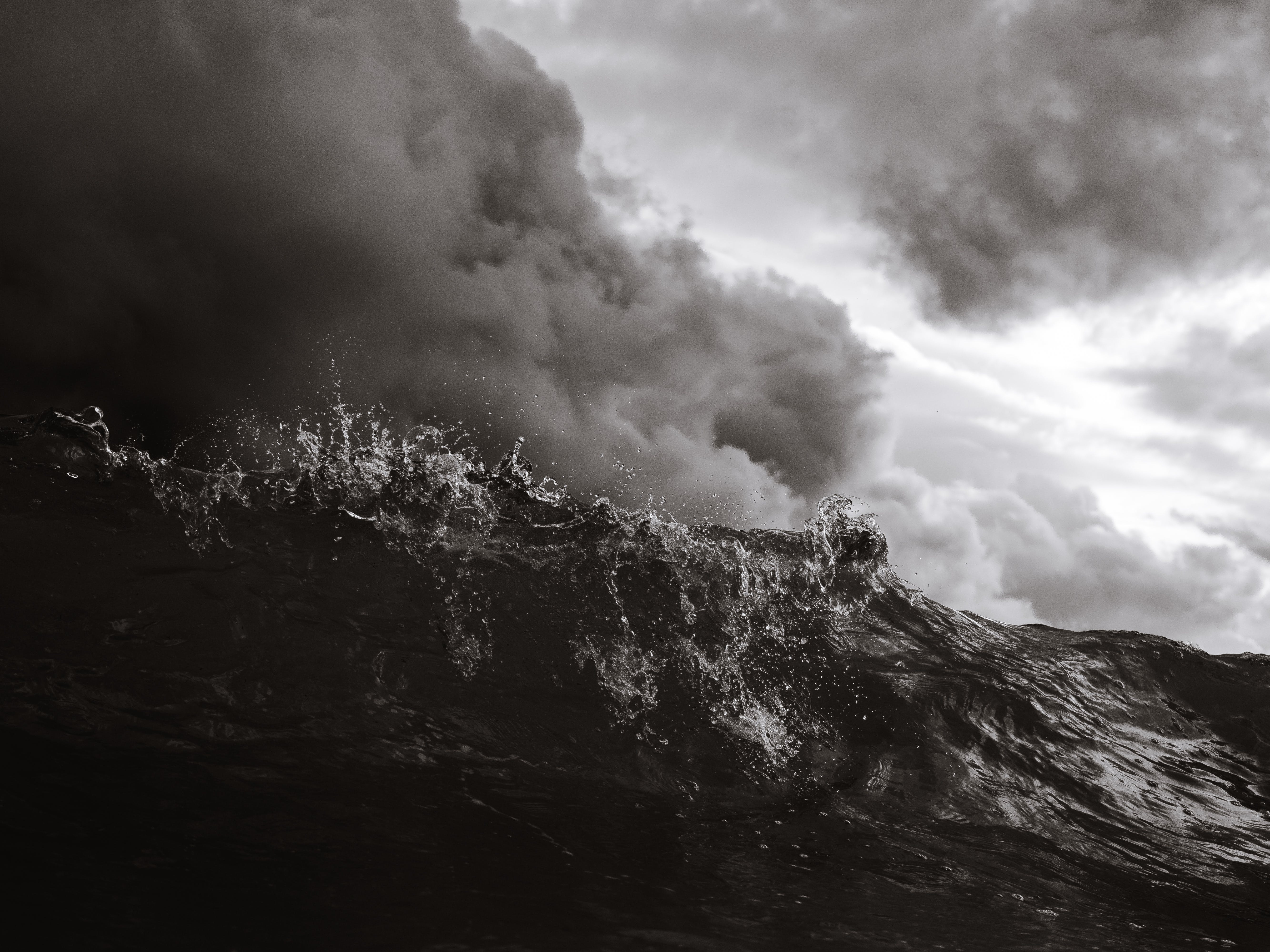 Monochrome Photo Of Waves