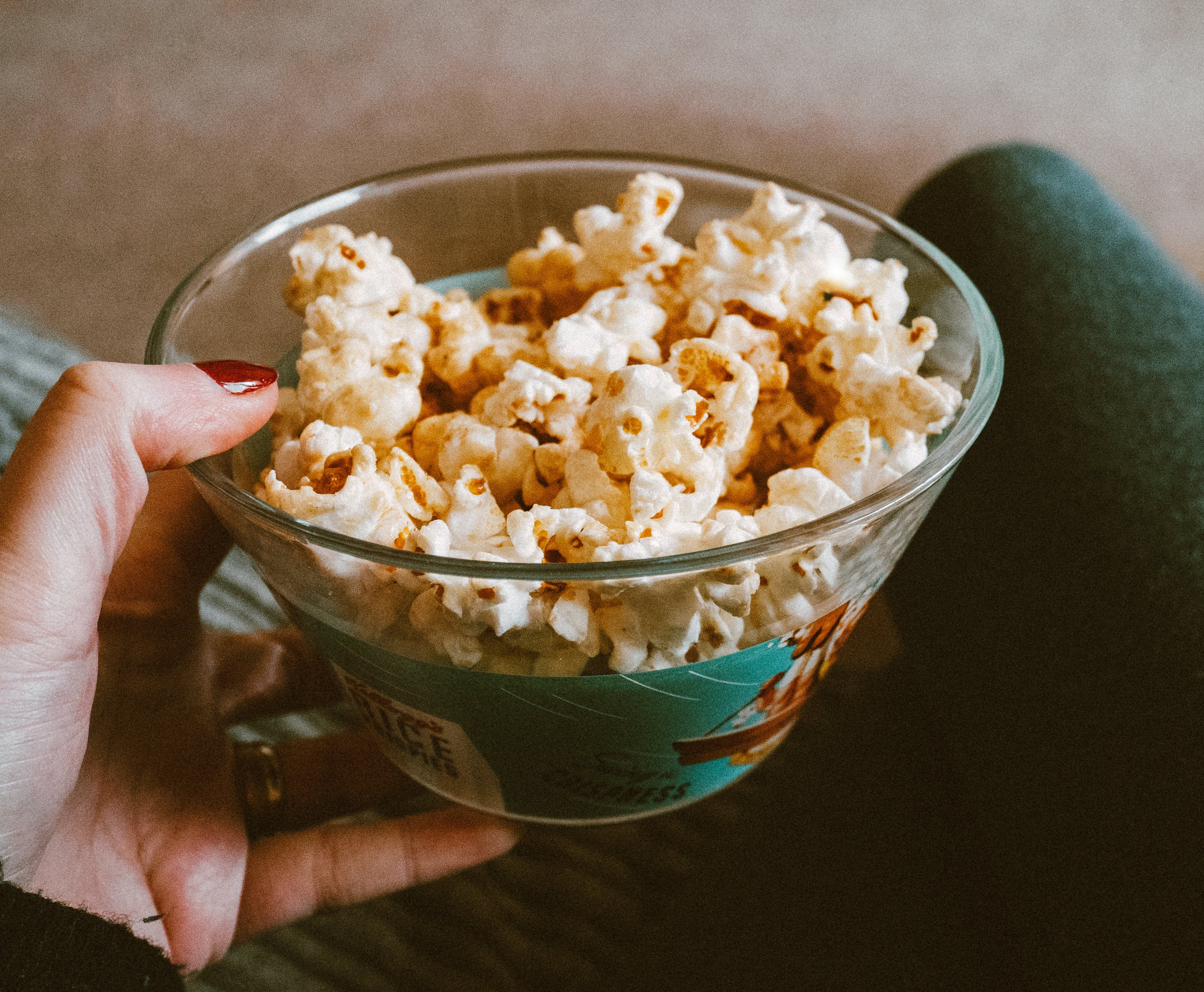 Popcorn On Clear Glass Bowl