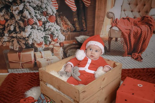 Foto d'estoc gratuïta de bebè, pare noel