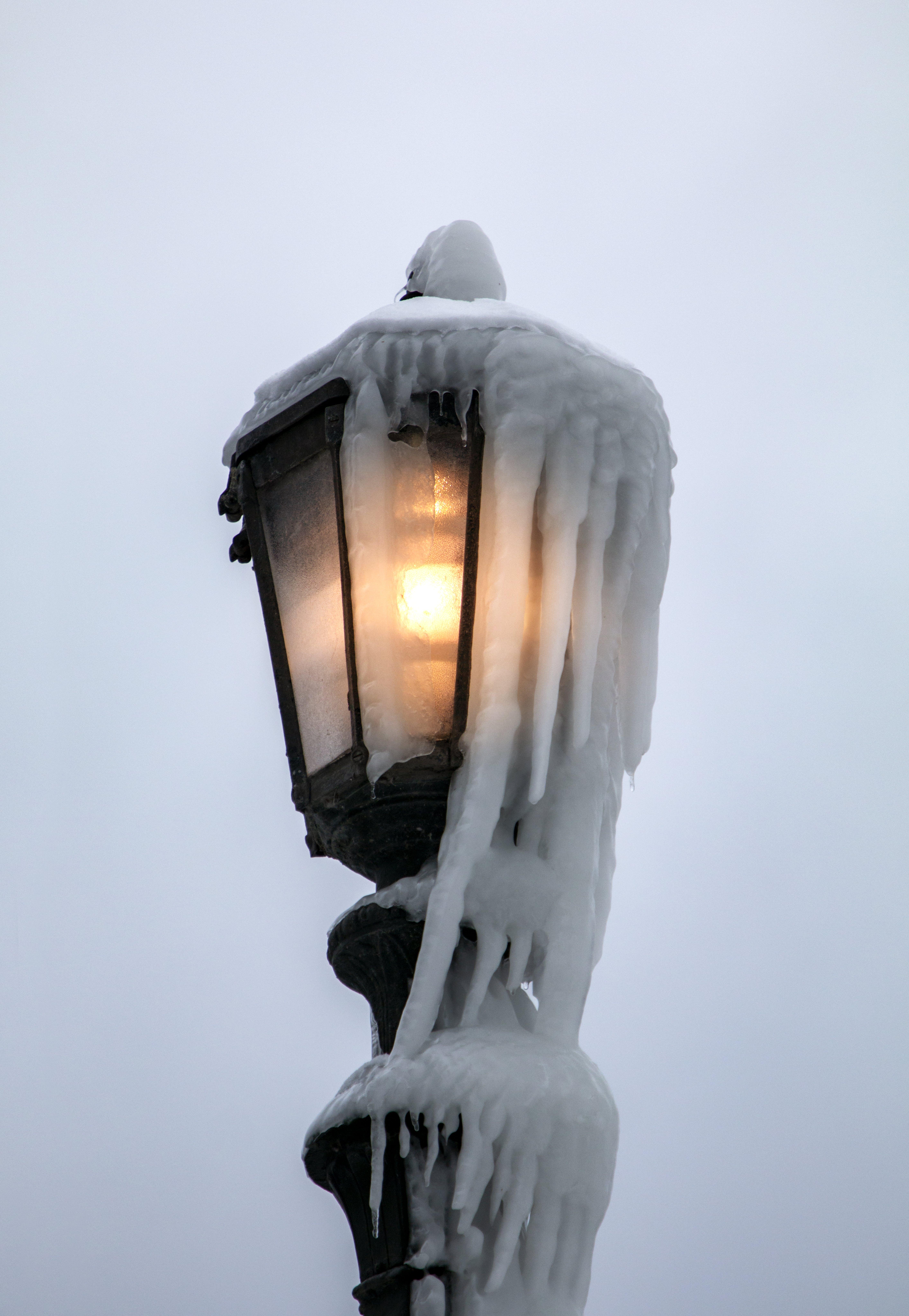 Free stock photo of frozen, ice, lamp, lamp post