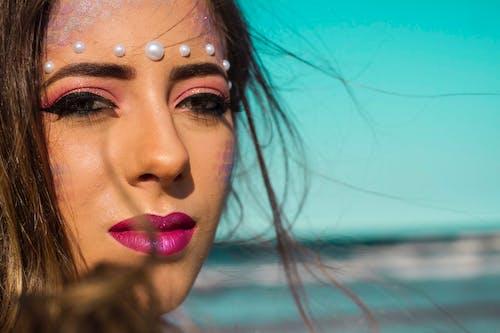 Woman Wearing Purple Lipstick