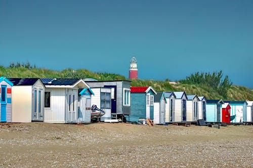 Imagine de stoc gratuită din arbori, cer, colibe de plajă, concediu