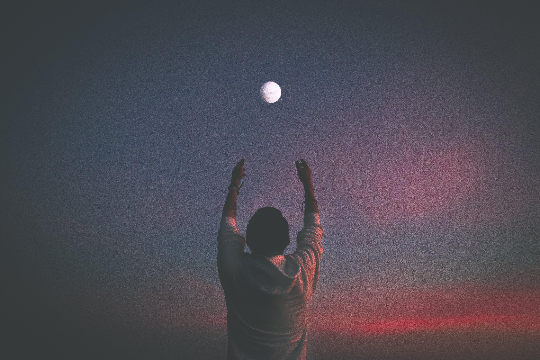 Free stock photo of moon, portrait, sunset