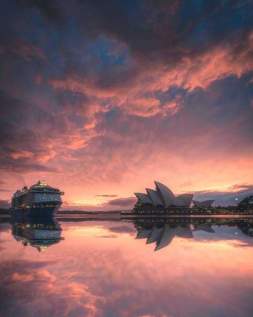 Kostenloses Stock Foto zu australien, dämmerung, kreuzfahrtschiff, opernhaus