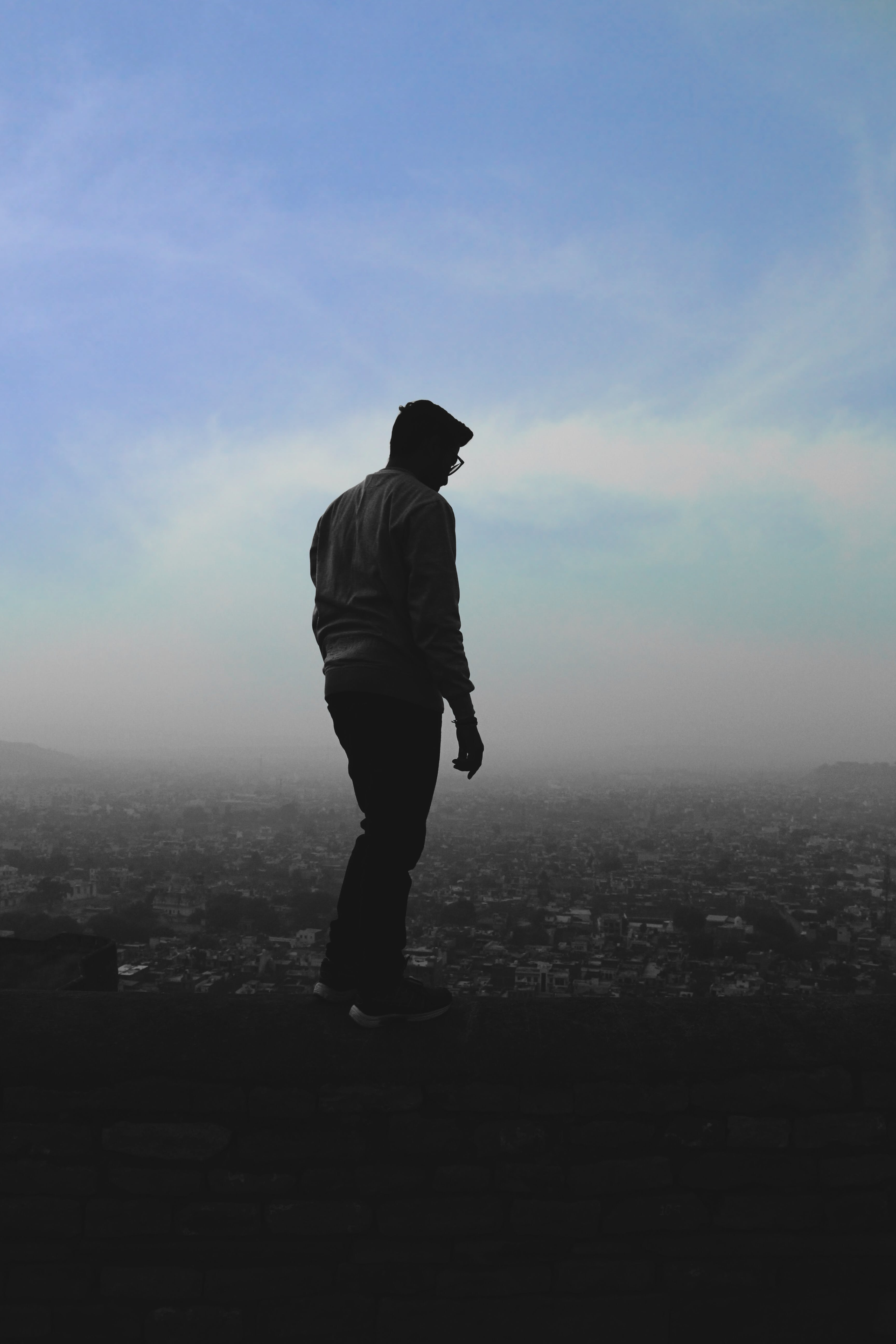 Free stock photo of man, sky, standing, wall