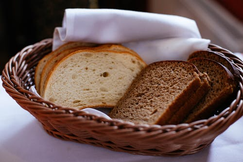 Bread On Wicker Tray