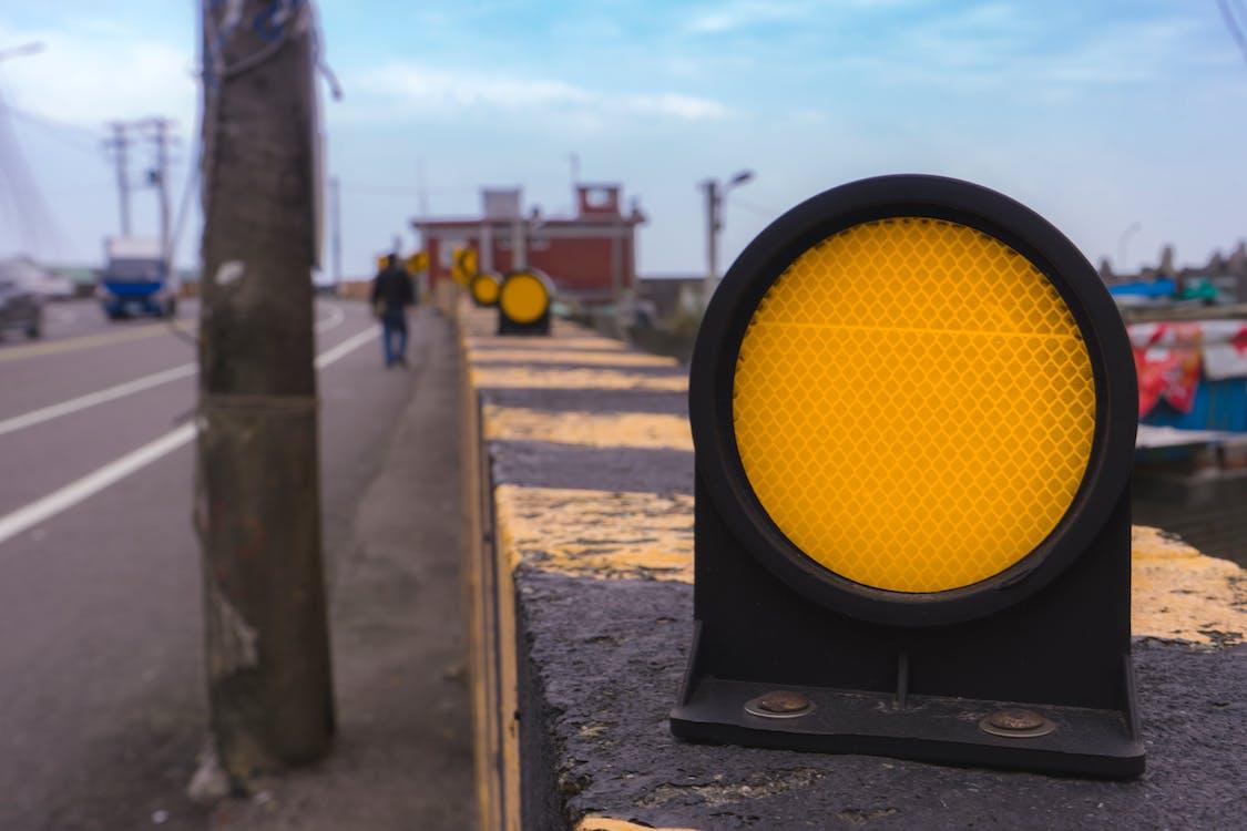 közeli, sárga, út