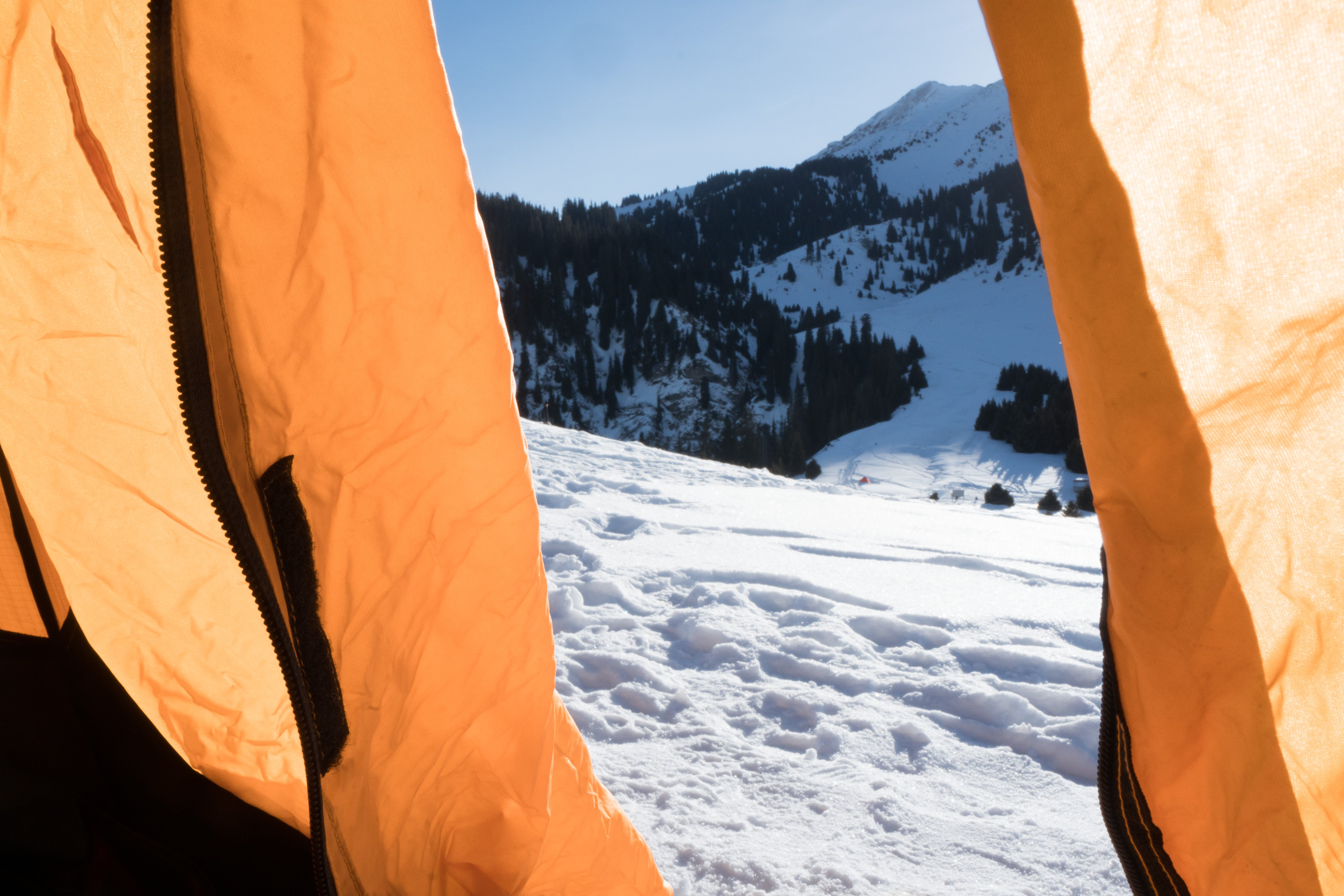 Free stock photo of morning, snow, tent, travel