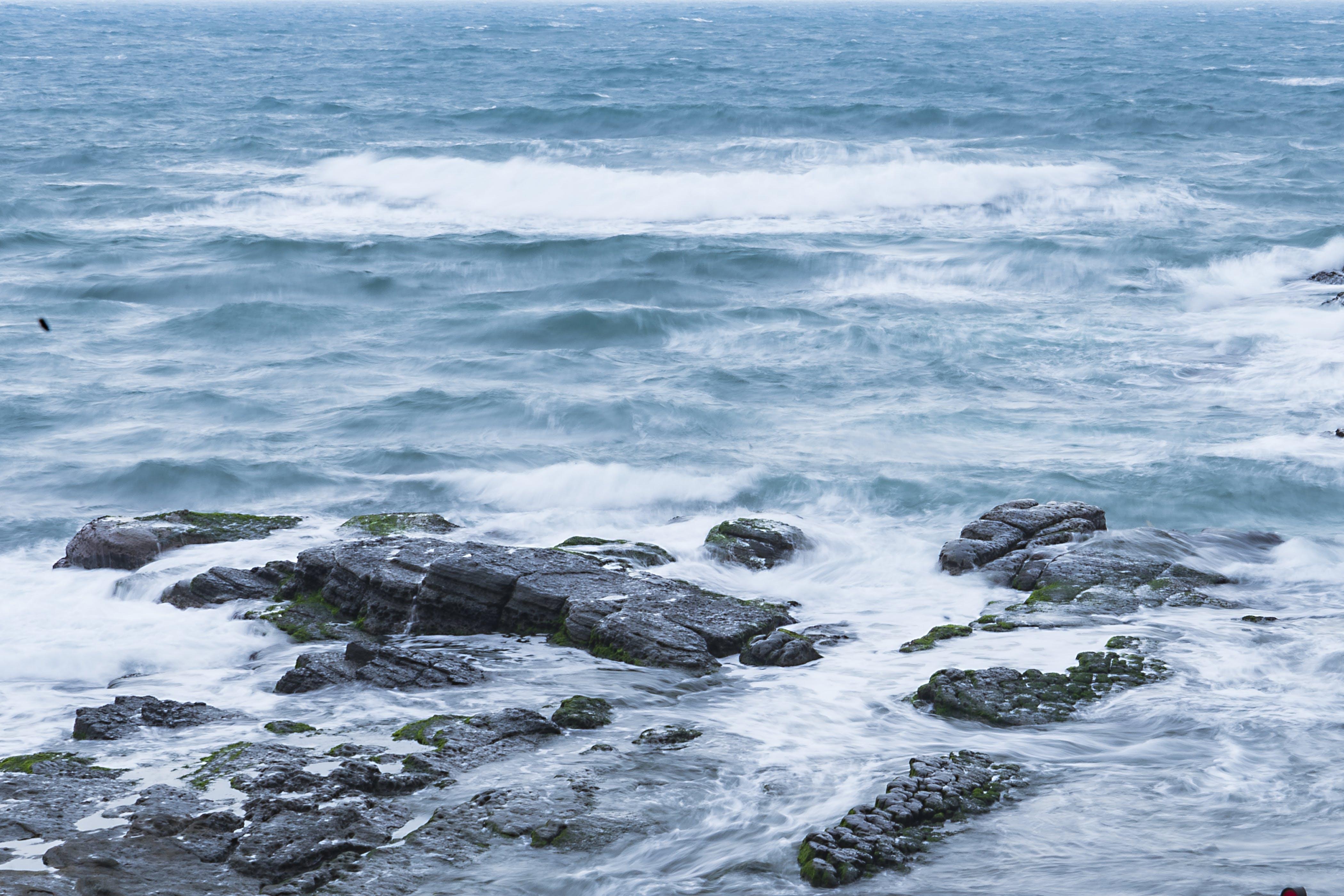 blue, ocean, rock