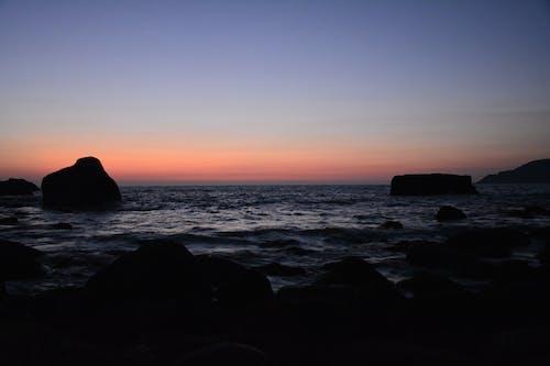 Ingyenes stockfotó háttér, kék ég, naplemente után, narancssárga háttér témában