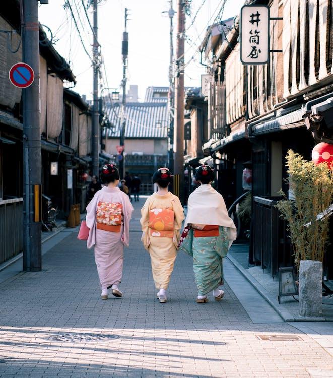 chaussée, femmes, geisha