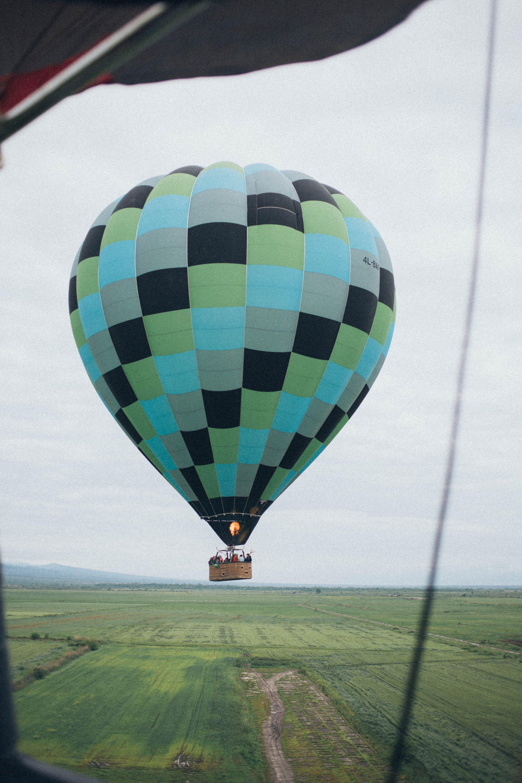 Blue and Black Hot Air Balloon