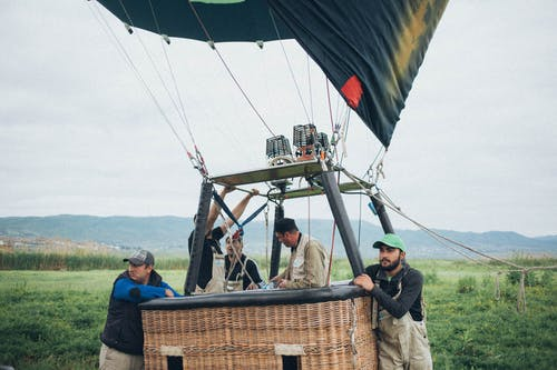 Group of Men About to Ride on Hot Air Balloon