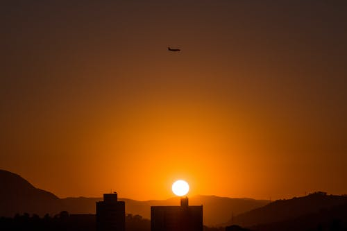 Free stock photo of airplane, brazil, sunset