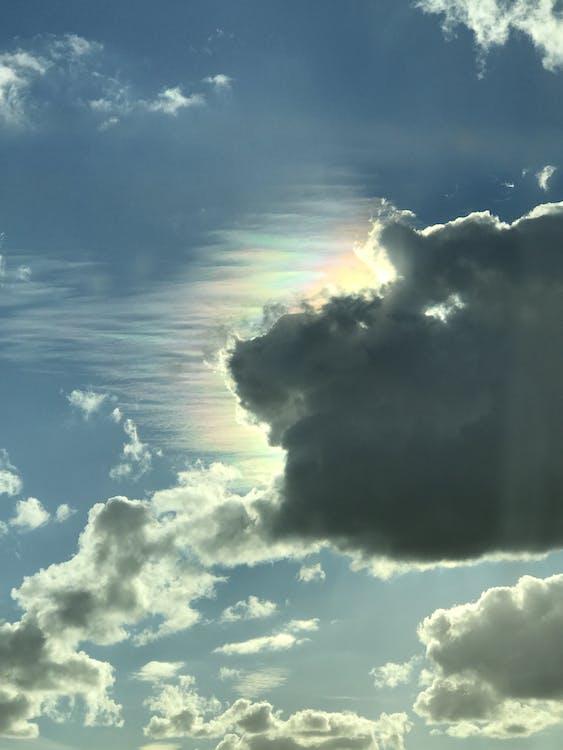 blå, grå, overskyet himmel