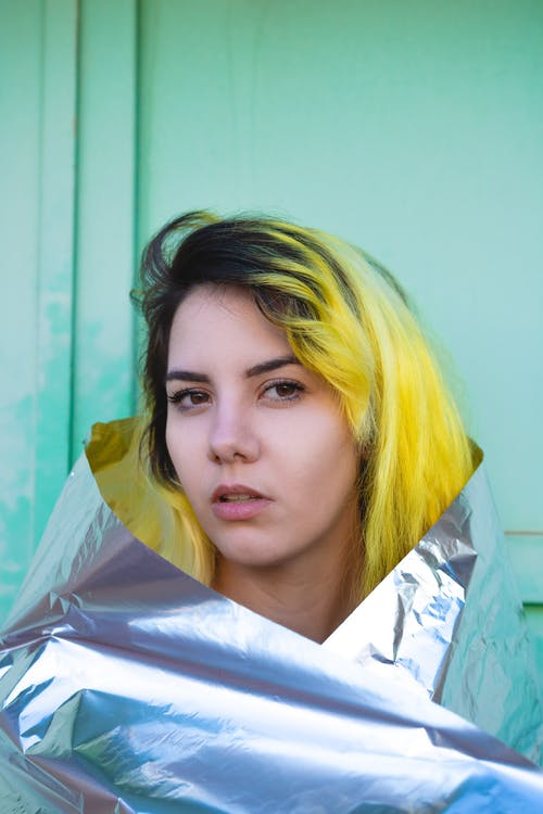 Woman Wrapped With Silver Foil