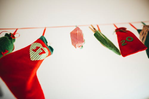 Stockings and Pouch Hanging Close-up Photo