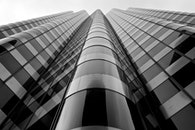 black-and-white, building, office