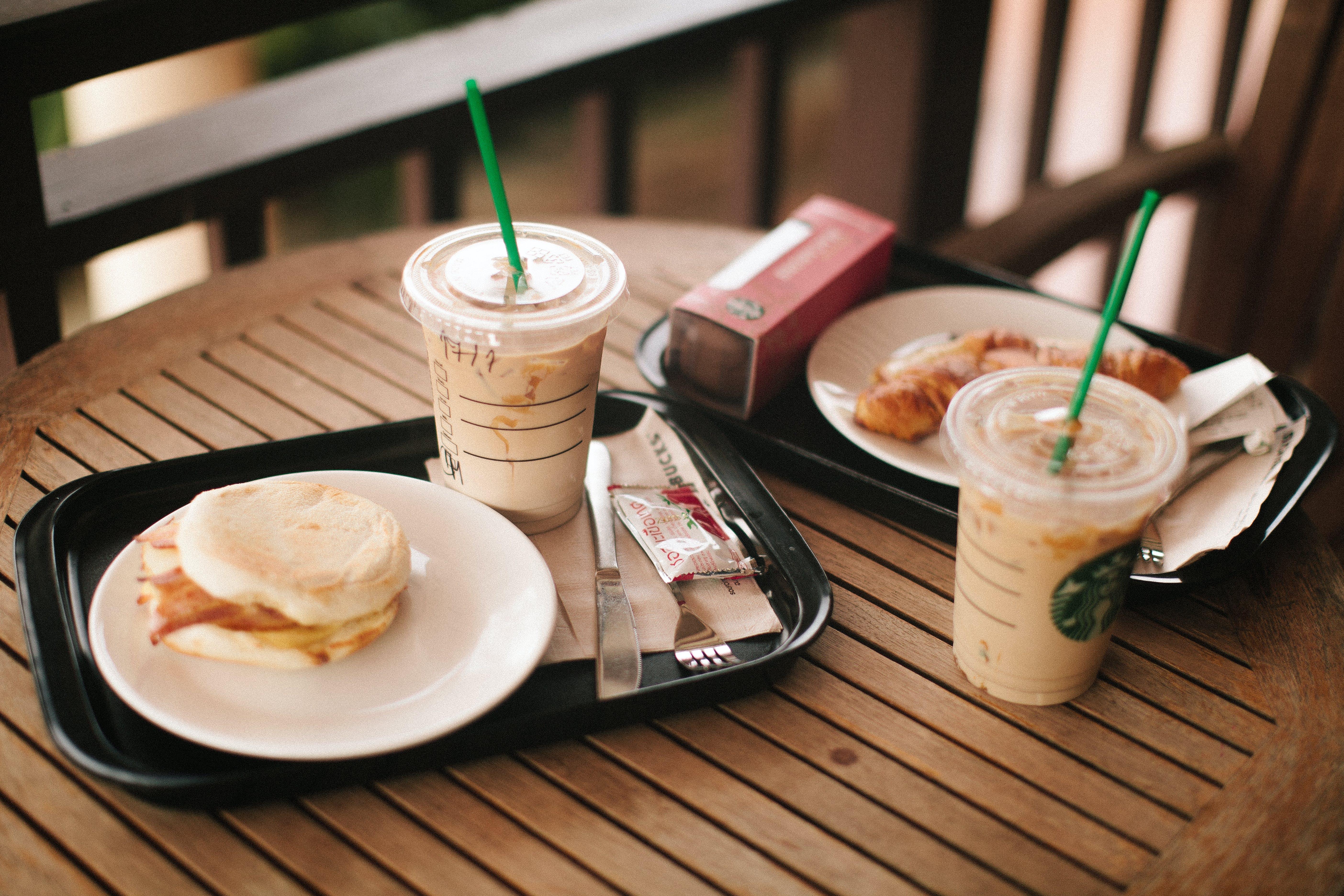 Starbucks Cup On Black Tray
